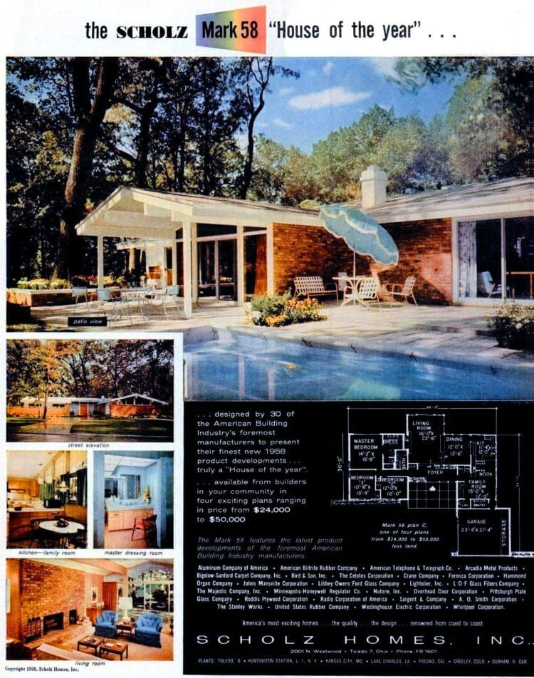 Tour The Ultimate Mid Century Modern House The Scholz Mark 58 Home Of The Year Mid Century Modern House Modern House Vintage House Plans