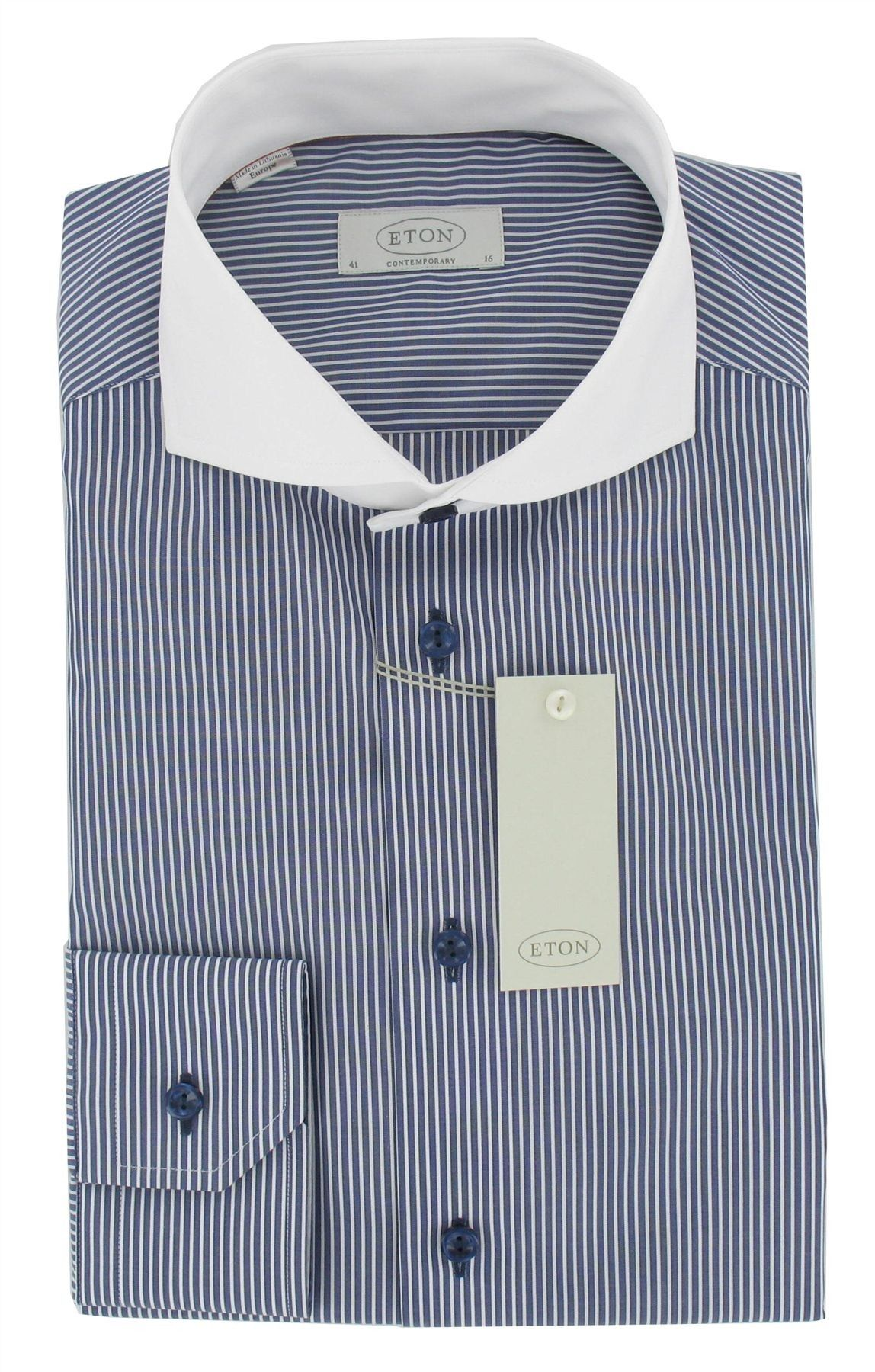 Eton Shirt Striped With Contrast Collar In Blue Contemporary Fit