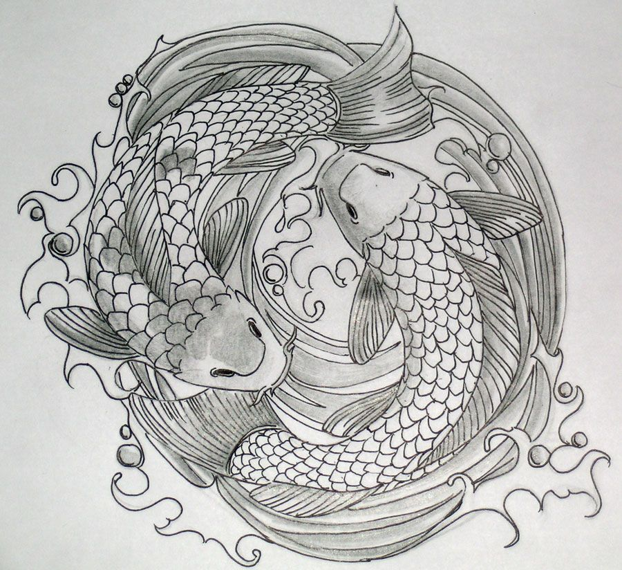 Pencil drawings of koi fish koi fish pencil sketch by for What does a koi fish represent