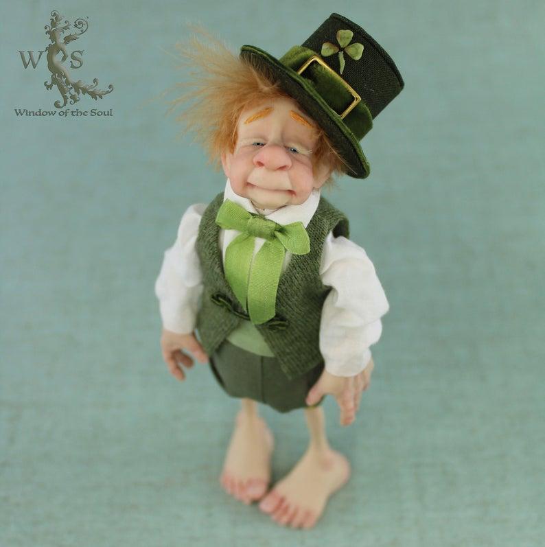 Lucky Irish Leprechaun Good Luck Charm Ooak Fantasy Art Doll Etsy Ooak Art Doll Fantasy Art Dolls Lucky Irish