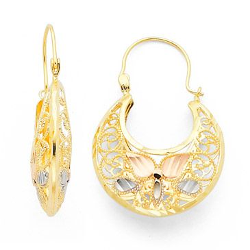 Tri Color Filigree Basket Earrings Gold Pendants Drop