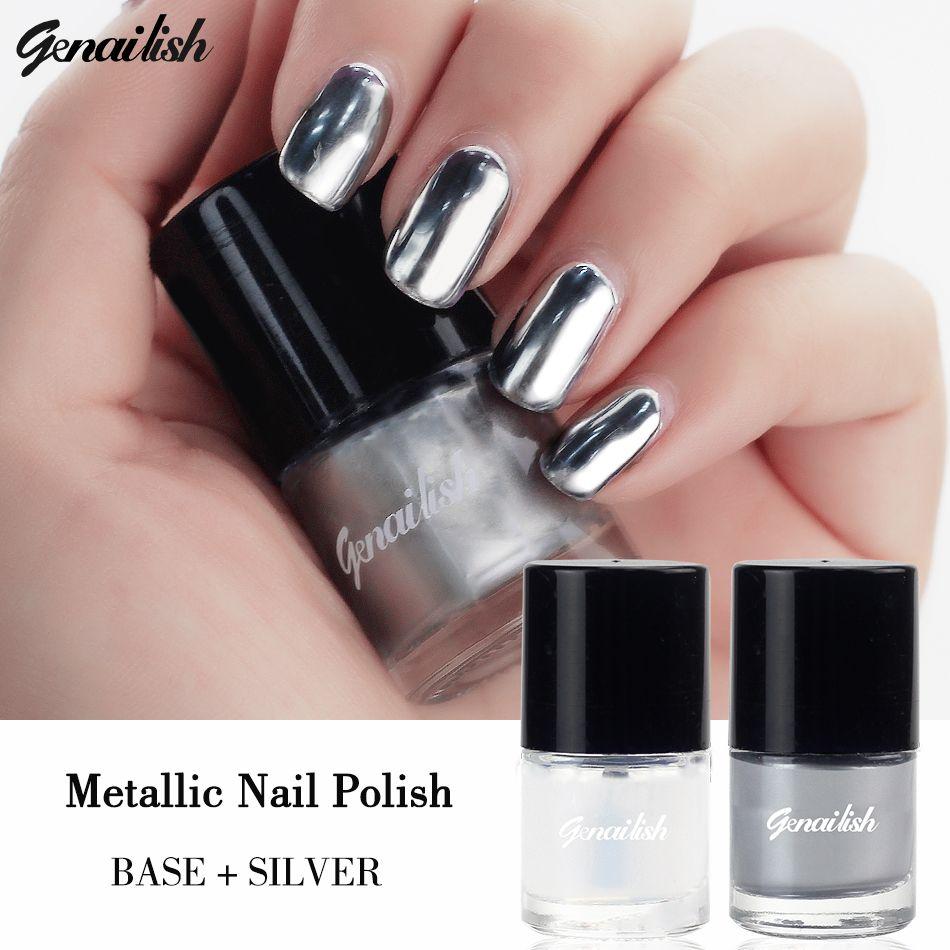Genailish 2 teil/los 6 ml Metallic Nagellack Silber Spiegeleffekt ...