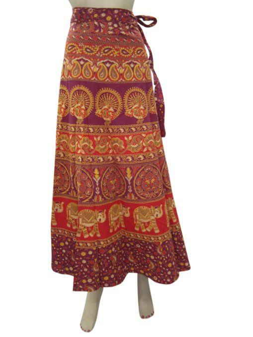 Amazon.com: Long Sarong Skirt Wrap Skirt Red Elephant & Peacock Print Wrap Around Skirt: Clothing
