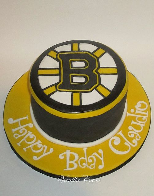 Boston Bruins Hockey Puck Spoked B Logo Happy Birthday Cake
