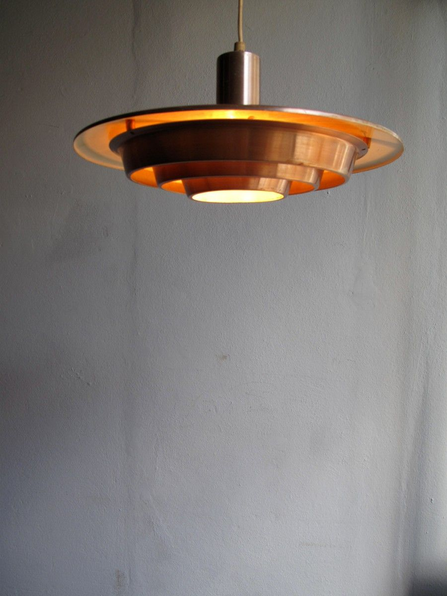 351 -Coppered aluminum pendant light.