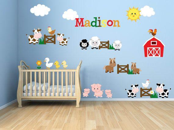 Kids Room Wall Decals Farm Animal By Yendoprint