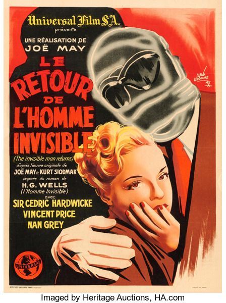 Le Retour De L'homme Invisible : retour, l'homme, invisible, Movie, Posters:Horror,, Invisible, Returns, (Universal,, 1947)., First, Post-War, ReleaseFrench, Moyenne, Posters,, French, Posters