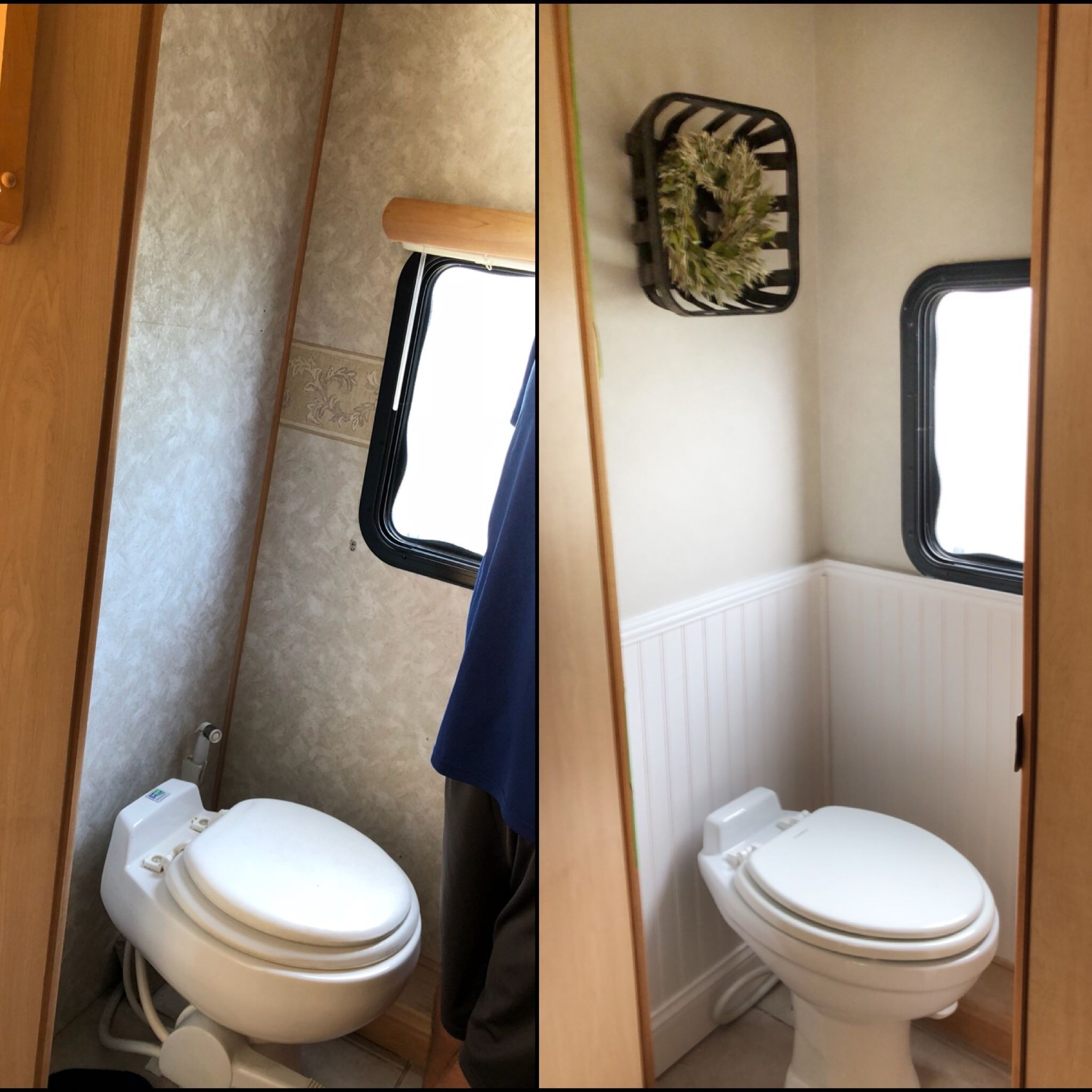 Before After Of Our Rv Bathroom Remodel Top Wall Color Sherwin