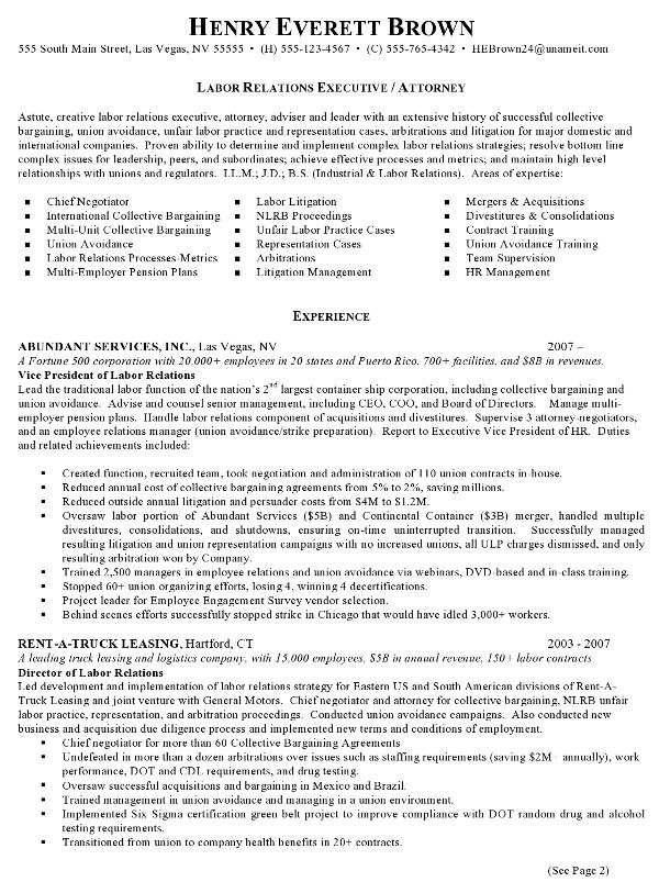 Resume Sample Labor Relations Executive Career Commons