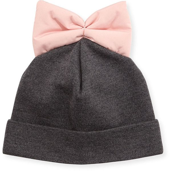 Federica Moretti Knit Beanie w/ Nylon Bow (32 CAD) ❤ liked on Polyvore featuring accessories, hats, head, black, knit hat, knit beanie hats, knit cap beanie, brimmed hat and bow hat
