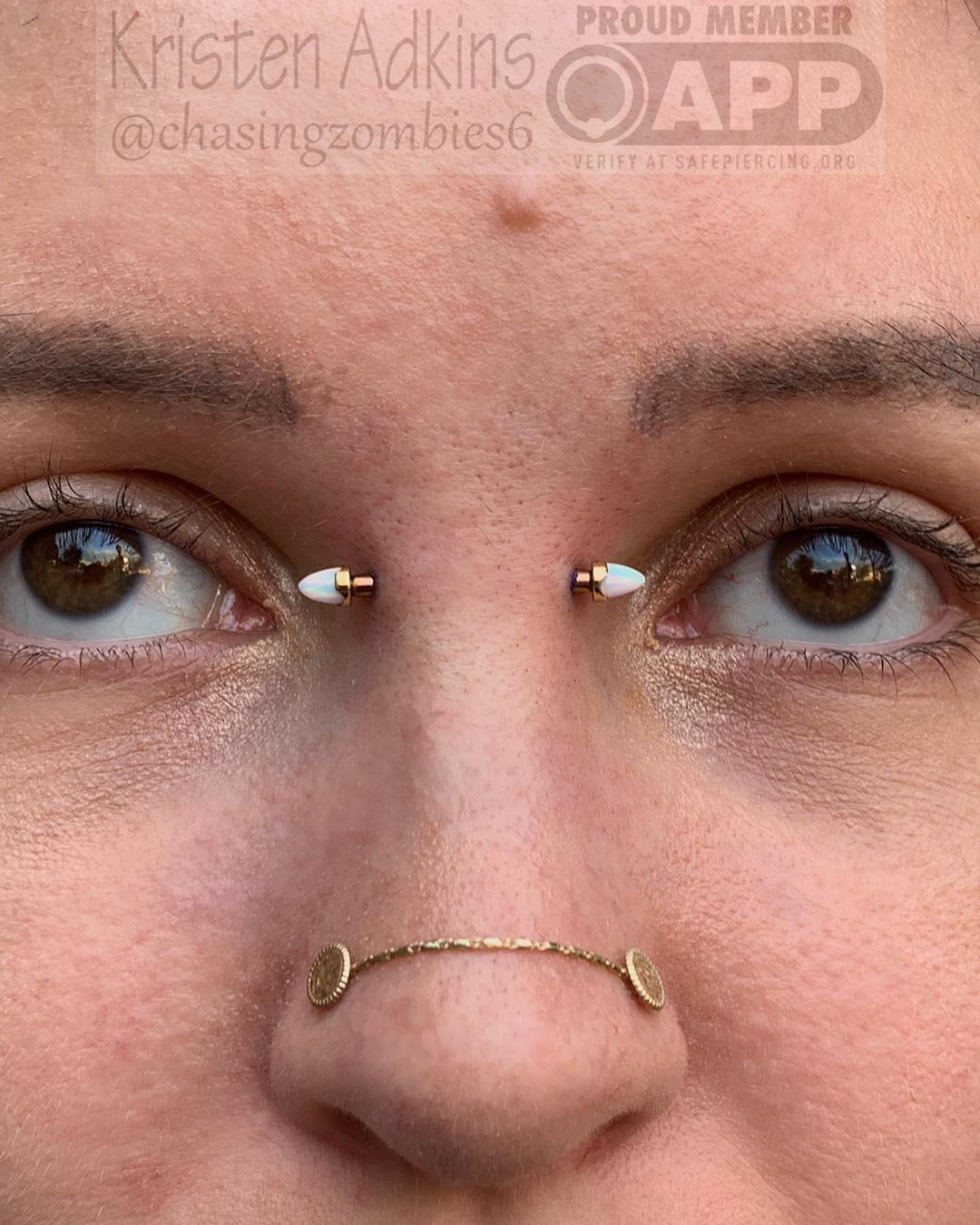 "Kristen Adkins on Instagram: ""12g bridge piercing with 18k rose gold prong set bullet ends from @anatometalinc  Thanks for your trust!  #appmember #safepiercing…"""