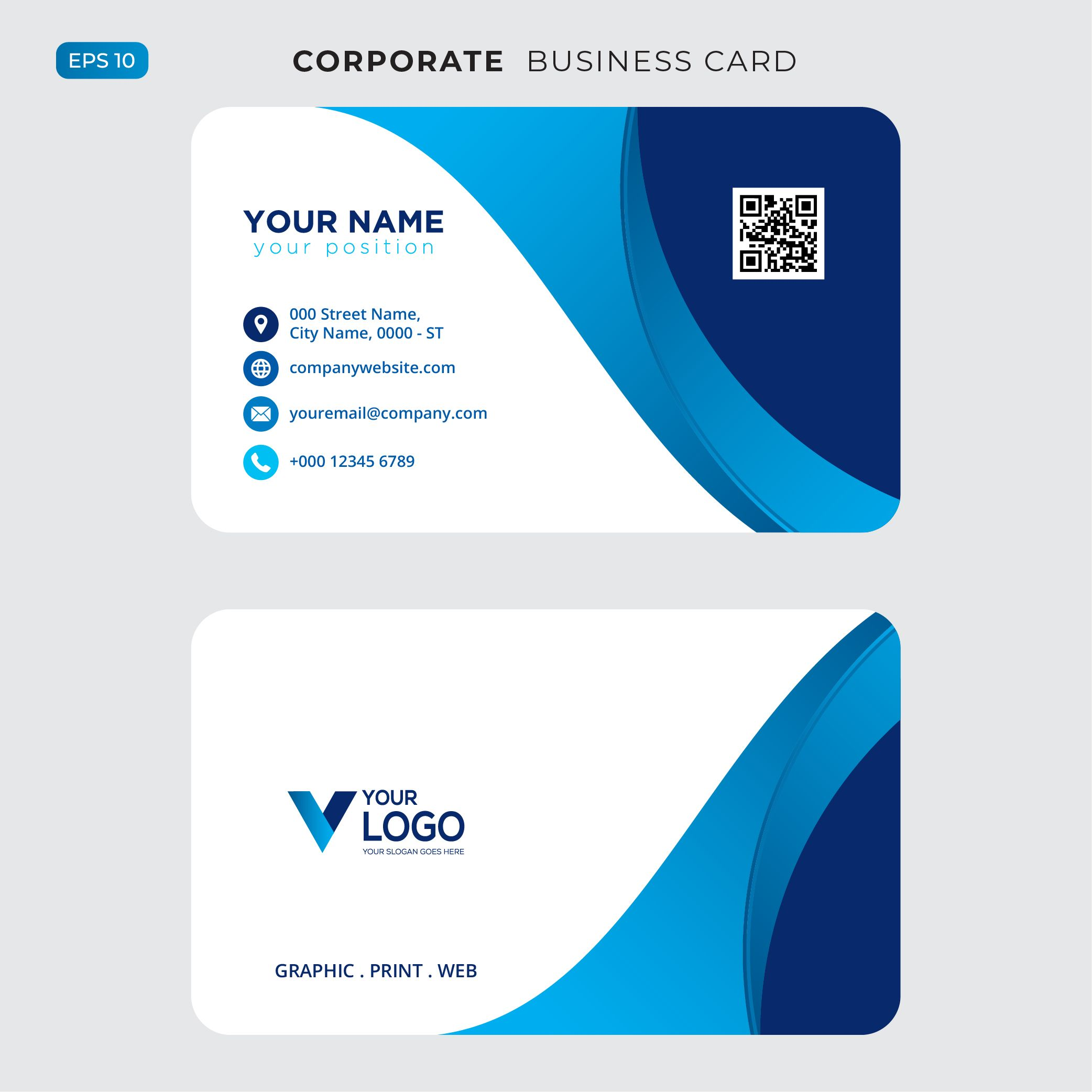 Blue Wavy Business Card Free Psd Vector Business Card Free