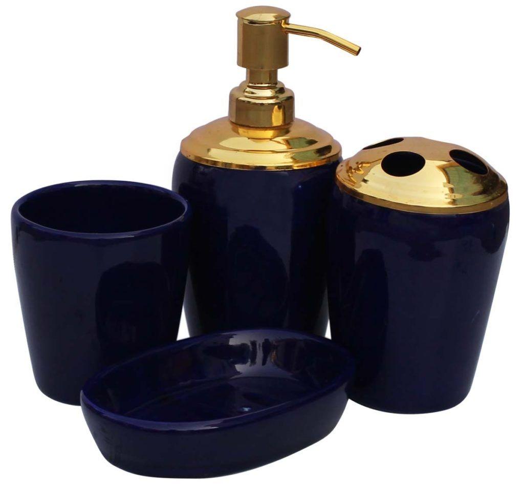 wholesale handmade set of 4 bathroom accessories in cobalt blue metallic golden tone from wholesale distributors in indiadecorative soap dish tumbler