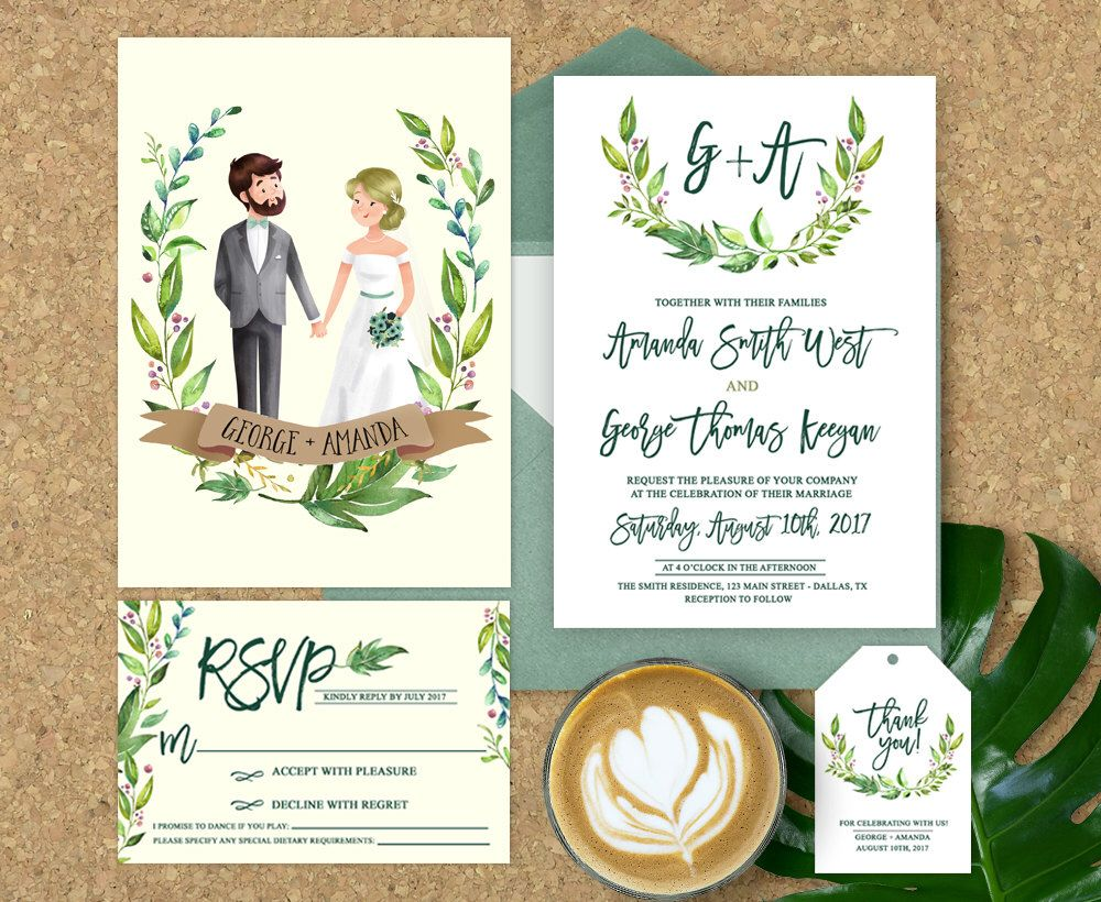 Wedding Invitation Illustrated, Illustrated Couple Wedding ...
