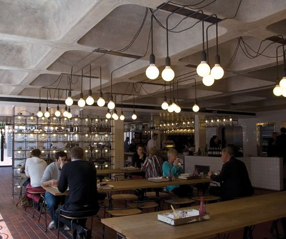 Pslab collaborates with architects and designers shh to create lighting concept for the barbican foodhall lounge london united kingdom 2010
