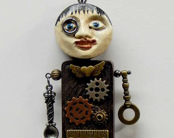 Steampunk Assemblage Ornament Art Doll Man Figure Gears #2