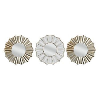 Belle Maison 3 Pc Sunburst Wall Mirror Set Wall Mirrors Set Mirror Wall Mirror Design Wall