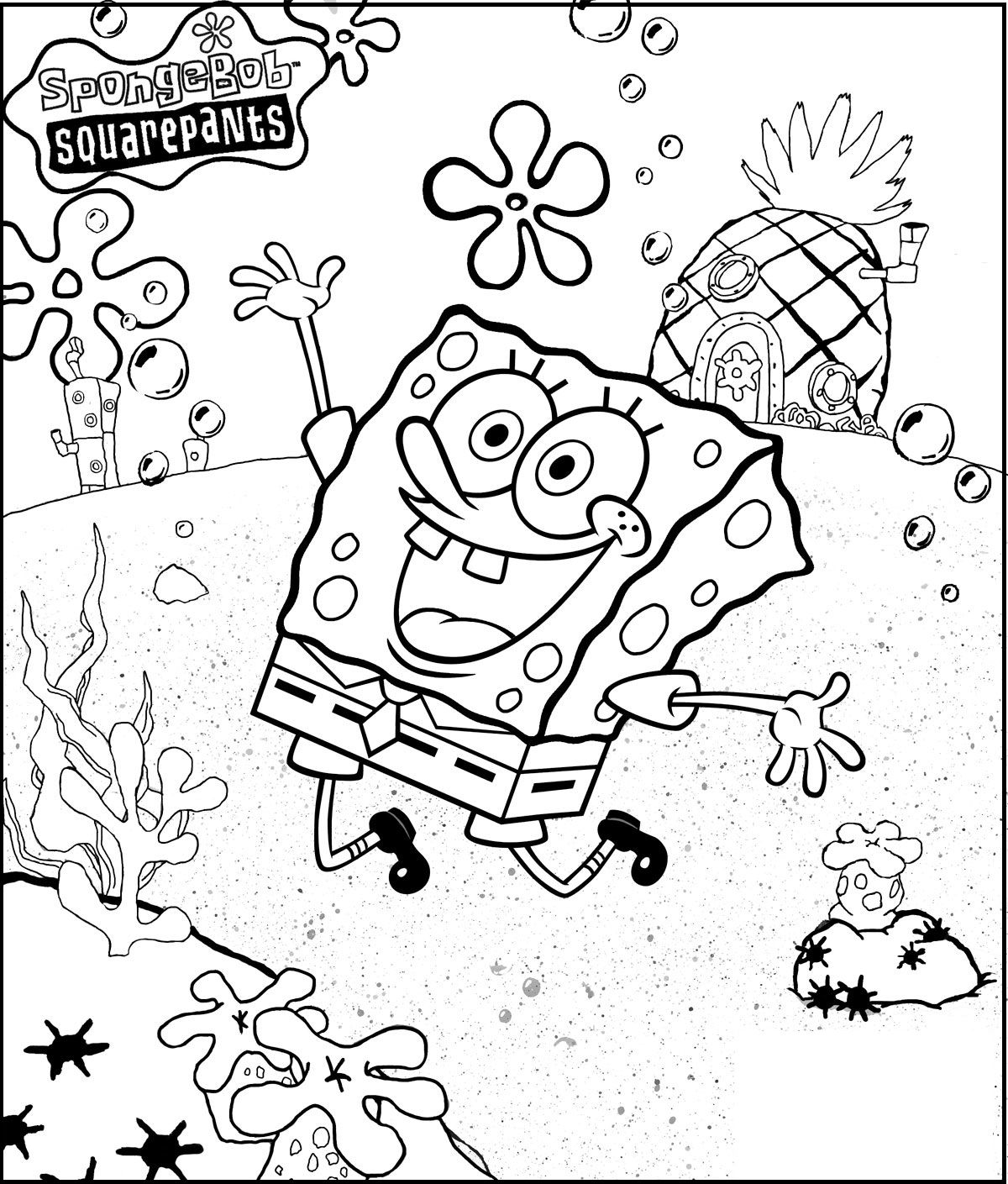 Spongebob Very Merry Coloring Picture For Kids Coloring Parties