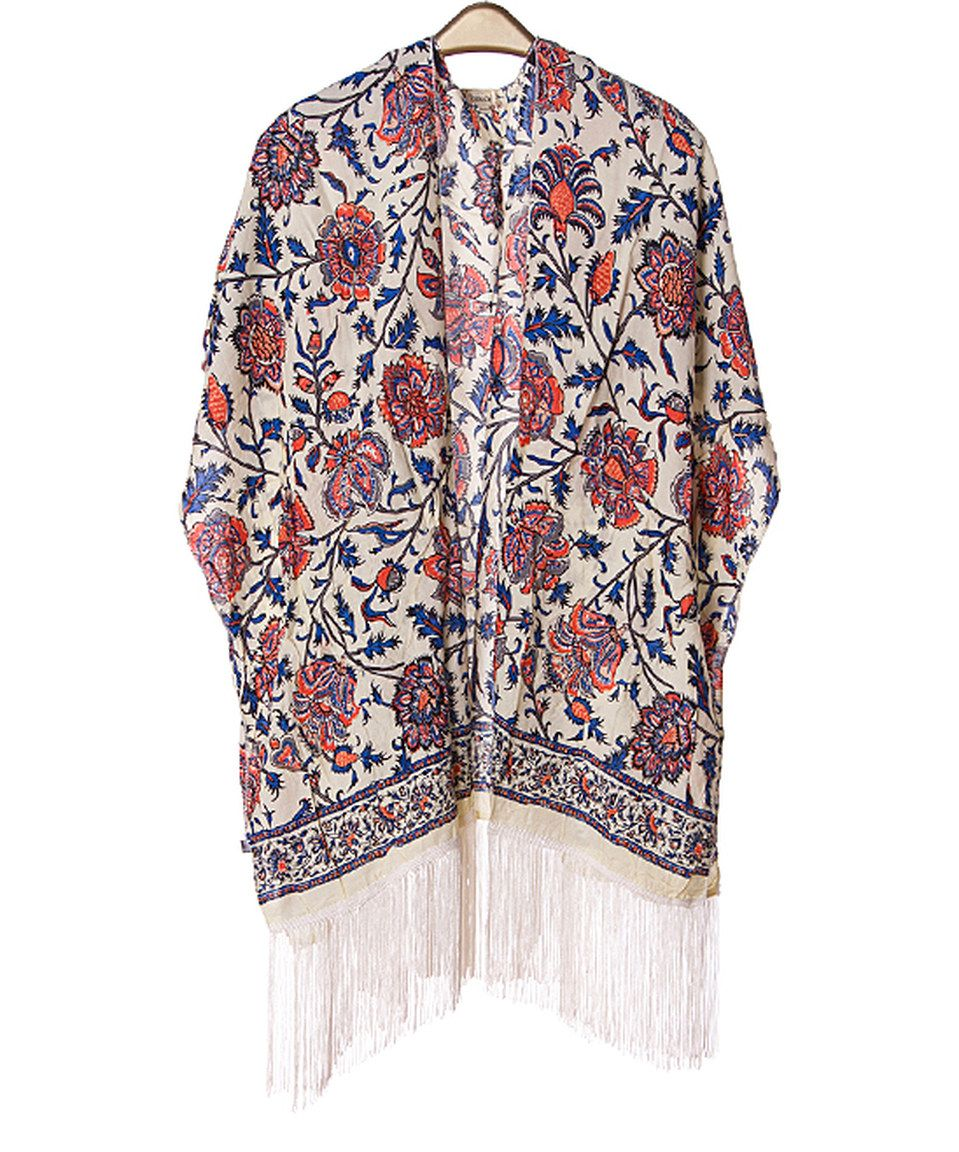 Love this SUE & KRIS Blue Vintage Floral Fringe-Hem Kimono by SUE ...