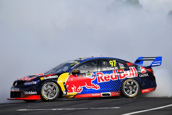 Shane Van Gisbergen Drives The 97 Red Bull Racing Australia Holden Commodore Vf Celebrates With A Victory Burnout Super Cars Red Bull Racing Holden Commodore