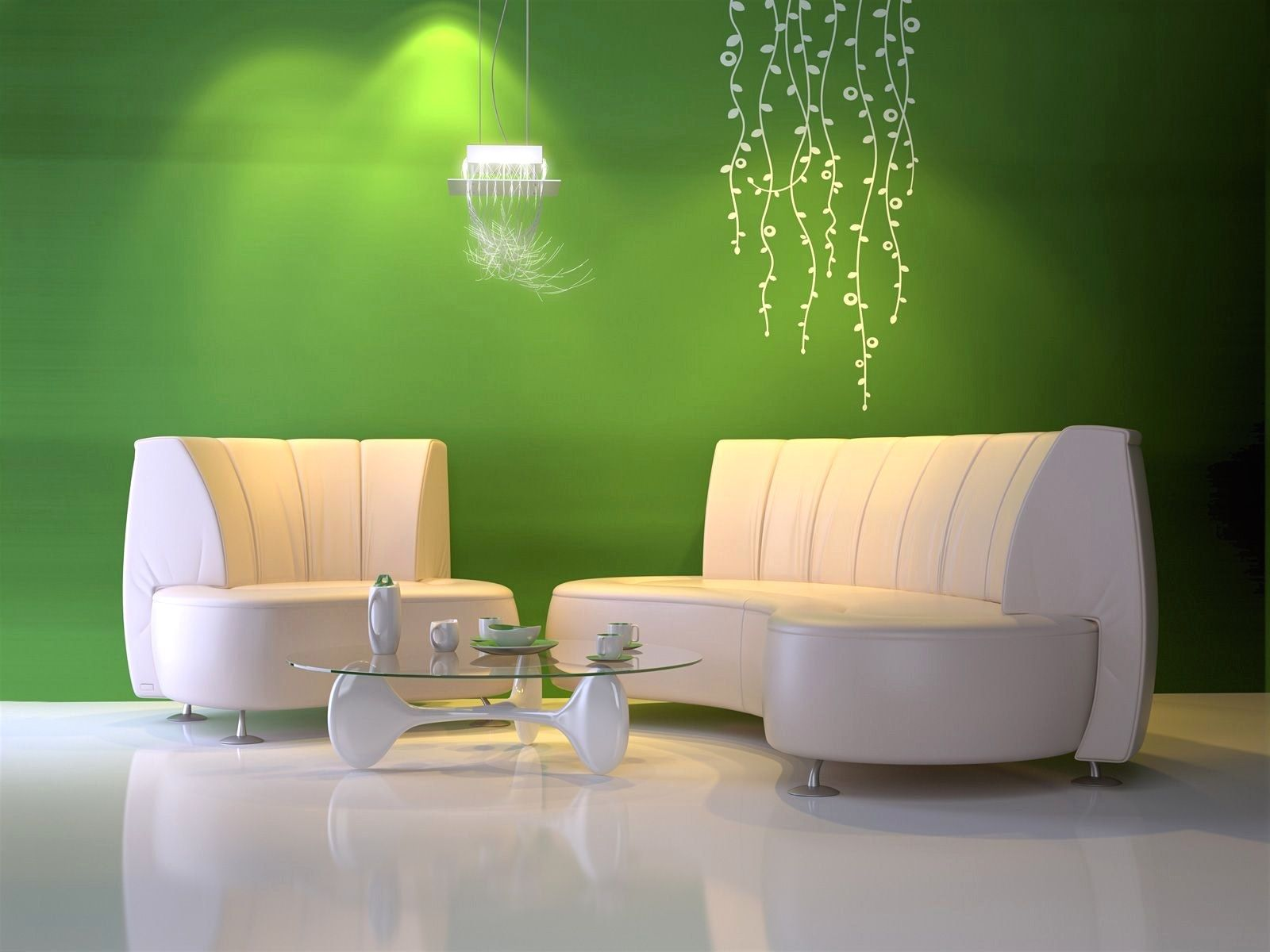 Hochwertig Wohnzimmer Ideen Wandgestaltung Grün