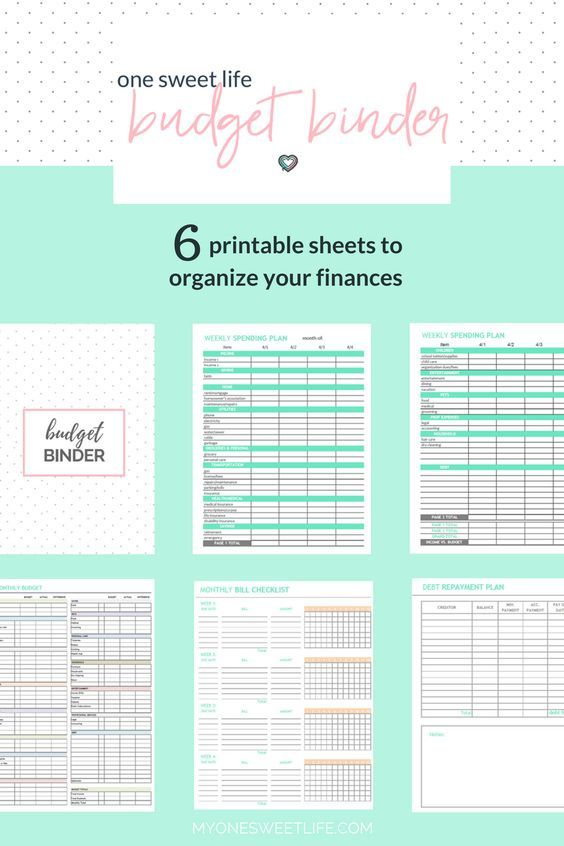 Financial printables to help you organize your money and get your