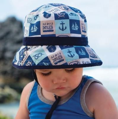 99a2dde6bab Boats   Anchor Print Reversible Baby Boys and Toddler Boys Sun Hat ...