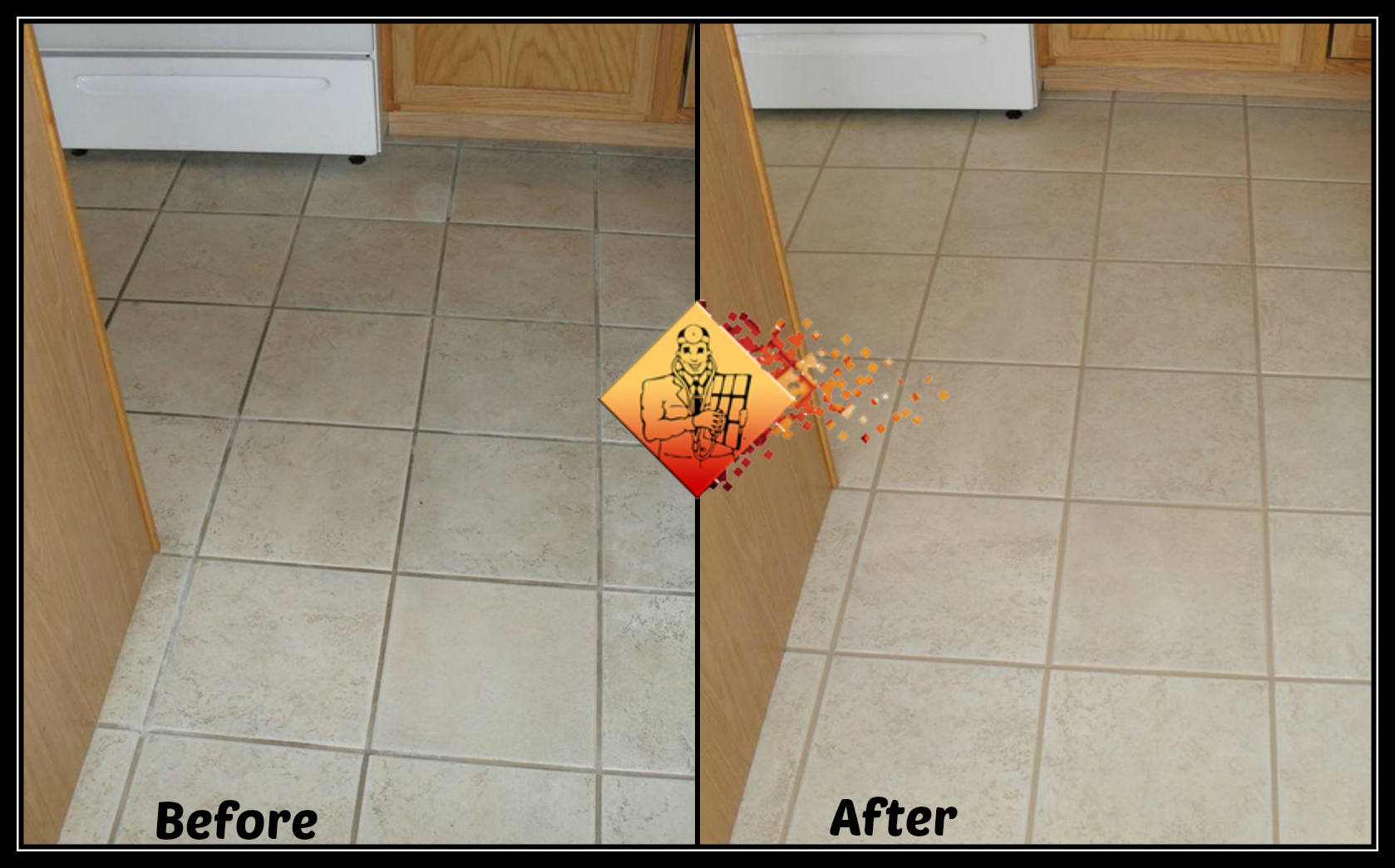 Kitchen floor grout before u after cleaning u recoloring the grout