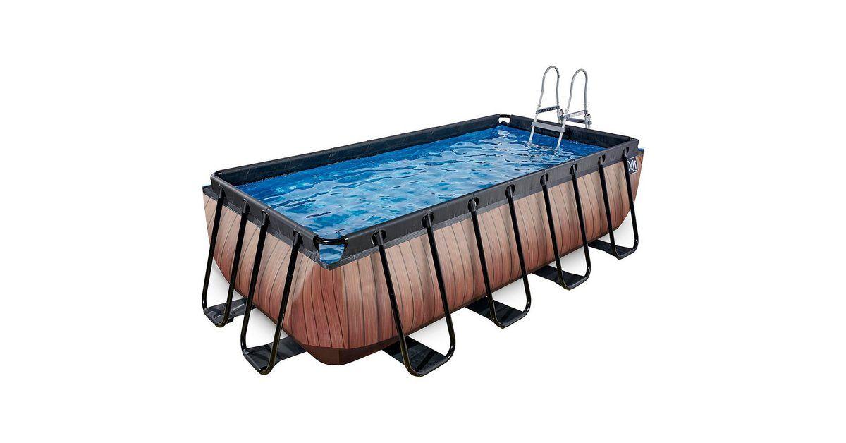 Frame Pool 4x2x1m Premium, Holz Optik
