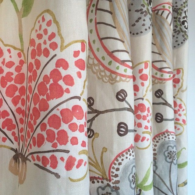 Gorgeous Floral Linen In Cream Coral Grey And Apple Green Available By The