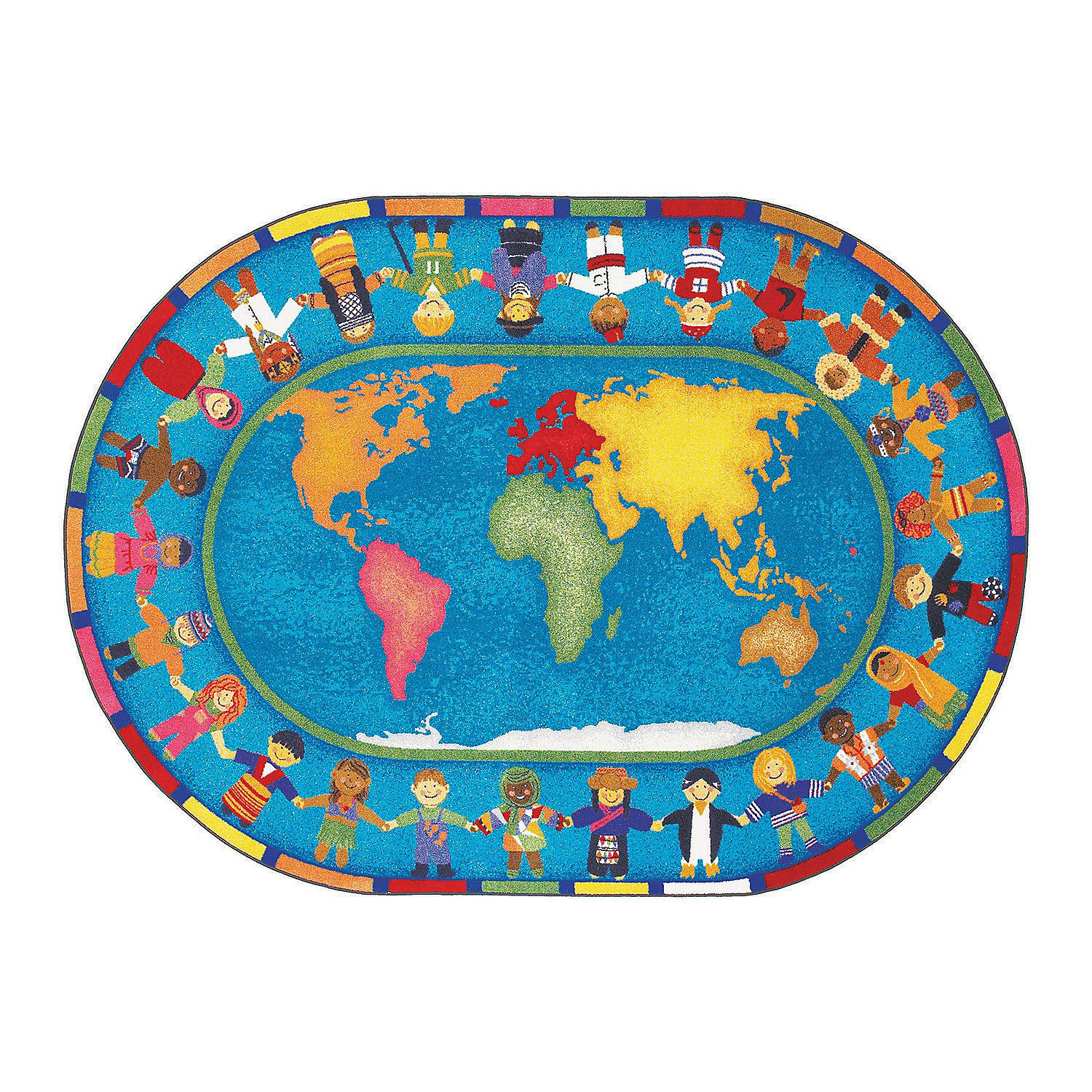 Hands Around The World Classroom Rug 5 Ft 4 X 7 Ft 8 Oval Classroom Rug Kids Area Rugs World Map Rug