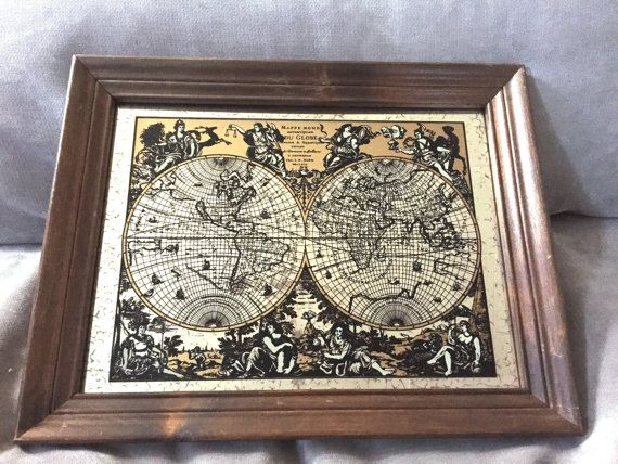 Vintage map world globe map monde world map mirror wood framed vintage map world globe map monde world map mirror wood framed map old world map map monde world map mirrored map gumiabroncs Gallery