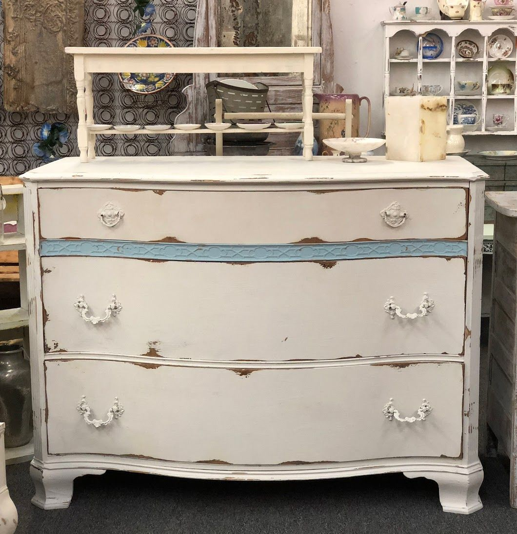Best White With French Blue Shabby Chic Bow Front Dresser 48 400 x 300