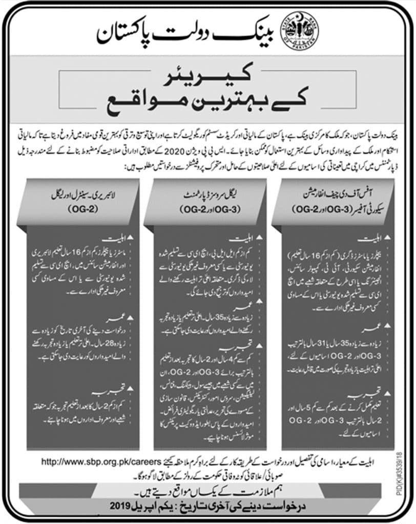 jobs jobsinpakistan statebankofpakistan Office