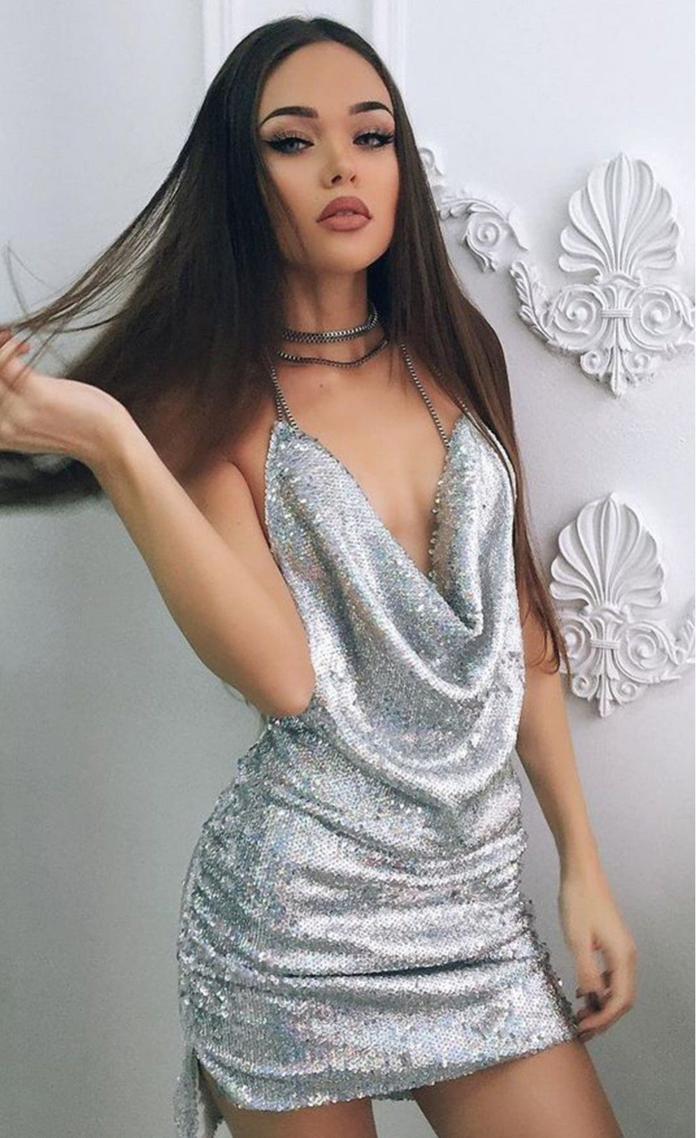 Sexy Celeb Backless Deep-V Halter Split Sequin Party Dress ... d752f6b95cf0
