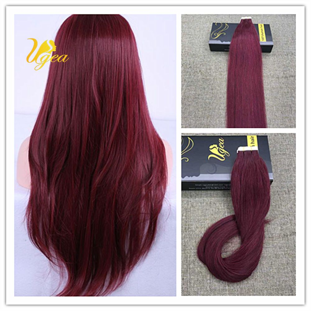 8a Red Wine 99j Skin Weft Silky Remy Tape In 100 Real Human Hair