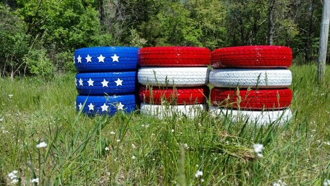 Flag Tires Good For Memorial Day And 4th Of July Holiday Yard Decorations Reuse Old Tires Repurposed Tire