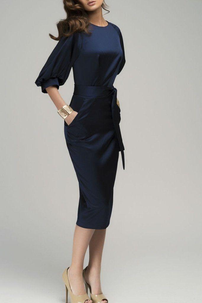 06b48efd797 Chic Navy Blue Puff Sleeve Belt Knee-Length Chiffon Pencil Dress  dresses
