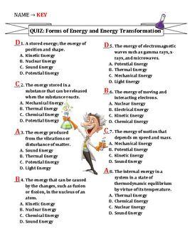 TEST: Forms of Energy & Energy Transformations | Energy ...