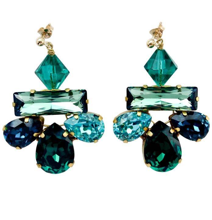beautiful green crystal lotus earrings #statement earrings ...