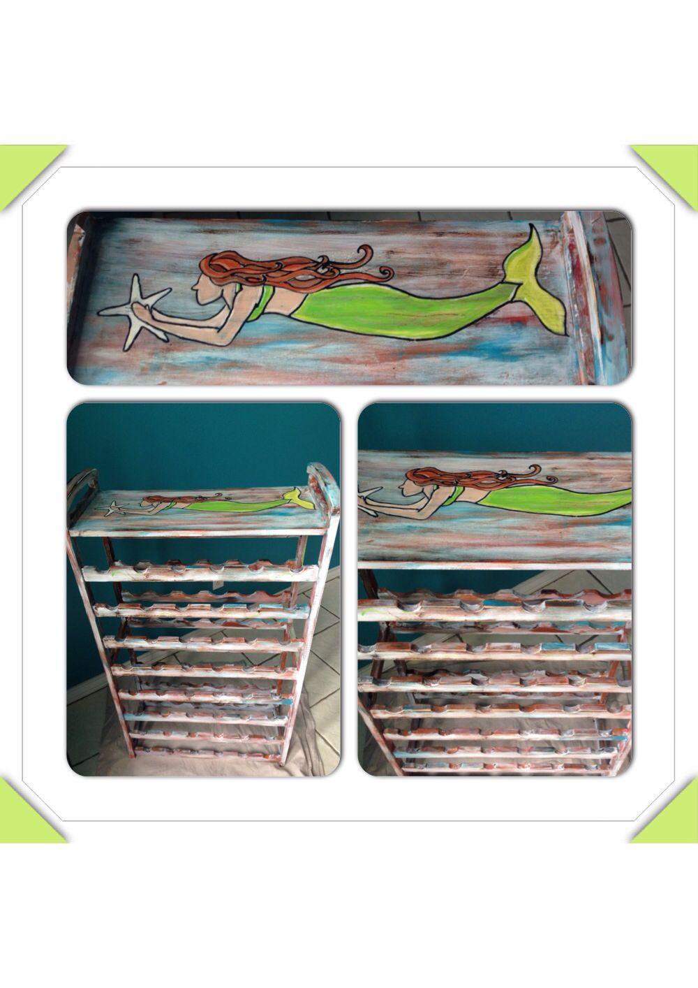 Mermaid and starfish wine rack