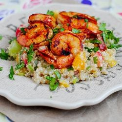 Jerk Shrimp with Caribbean Quinoa combines the sizzling spices of the Caribbean with sweet, tropical fruit quinoa. #jerkshrimp