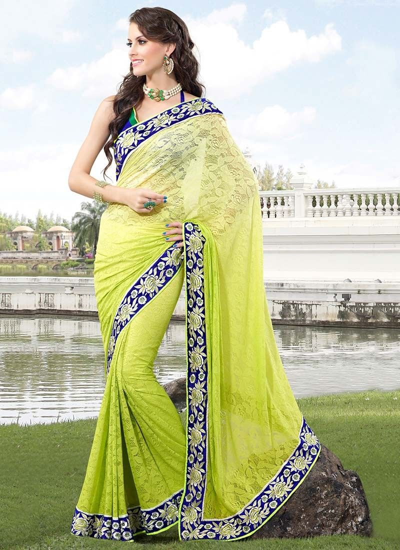 Alluring Green Net Saree @ $83