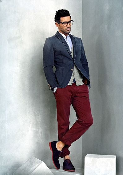 Great Styling Of These Burgundy Brown Pants Chinos Men