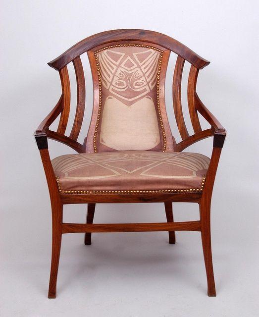 Henry Van De Velde (1863-1957) - Armchair. Wood and Upholstery ...