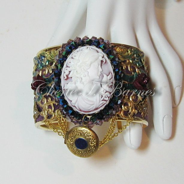#259--$60 Cameo Cuff with locket. Designed and made by Cherie T. Barnes .