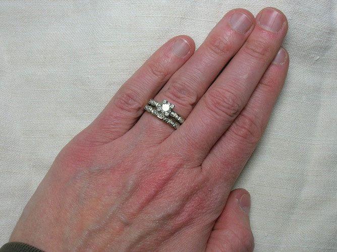 Vintage Wedding Ring Set Classic 1940s Illusion Head Beauty