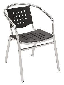Outdoor Patio Chairs Aluminum Frame With Perforated Plastic Seat