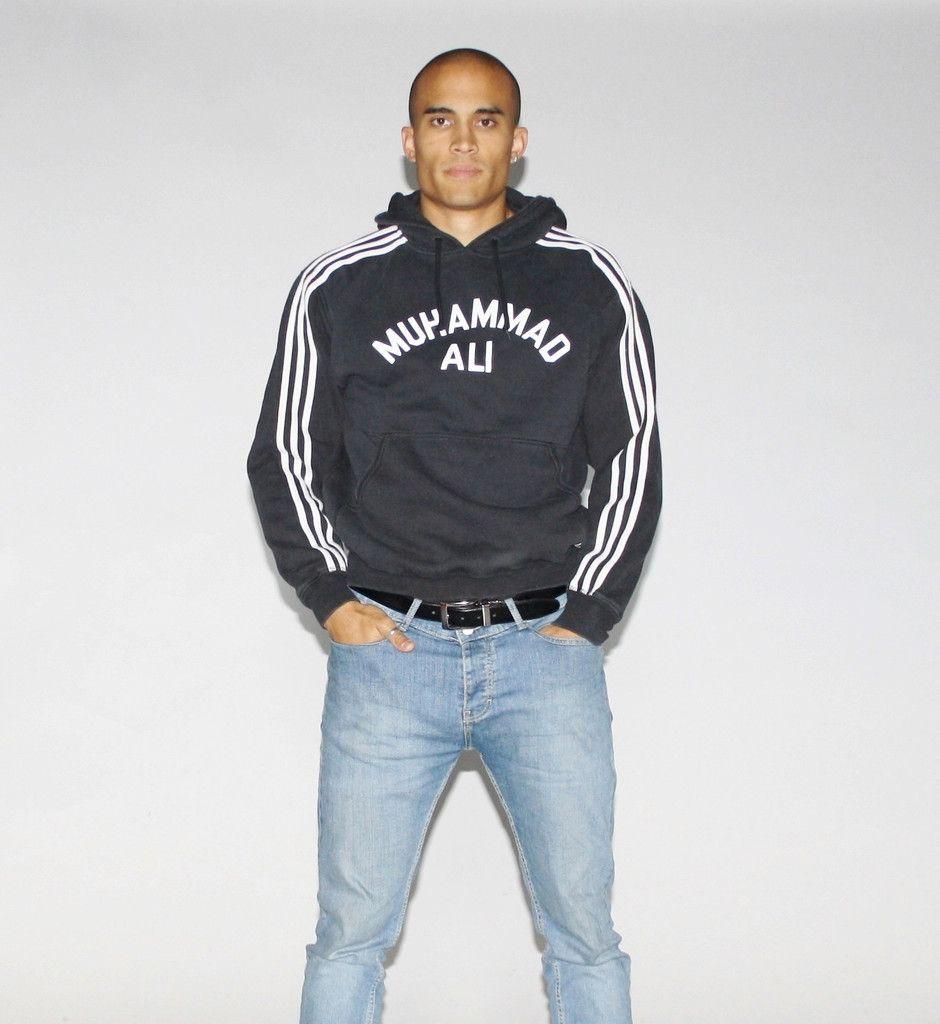 muhammad ali boxer adidas 3 stripe black hoodie sweatshirt. Black Bedroom Furniture Sets. Home Design Ideas