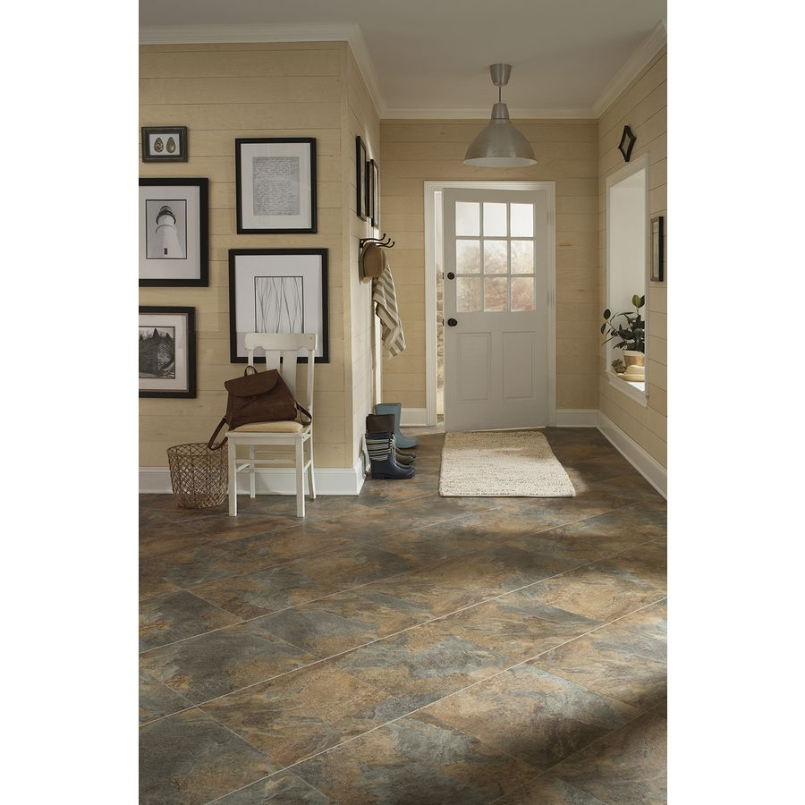 Shop stainmaster 18 in x 18 in groutable copper peel and stick slate luxury vinyl tile at lowes - Vinyl tile at lowes ...